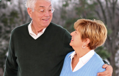 Photo of an older couple still in love from a couples photo session in the winter