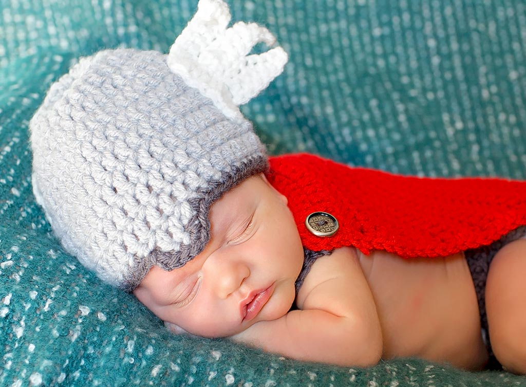 Baby photographer - Thor themed newborn photography session